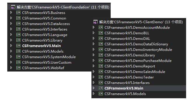 C/S系统开发框架旗舰版V5.0-解决方案和工程项目
