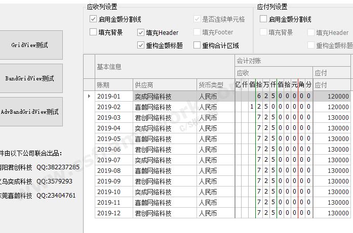 C# DevExpress会计凭证表格金额录入组件(支持元角分)