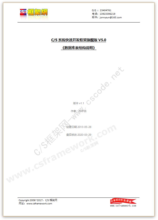 贴图图片-CS系统快速开发框架V5数据库表结构说明书