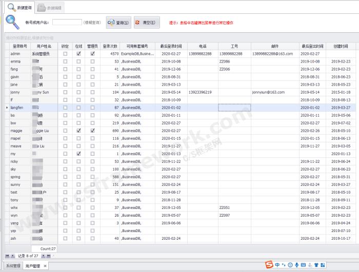 贴图图片-CSharp权限管理框架-用户管理