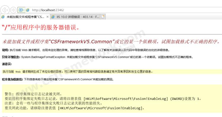 贴图图片-iis未能加载文件或程序集